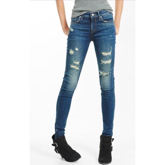 6f638975c7aa6 Express Jeans | Mid Rise Distressed Jean Legging | Poshmark